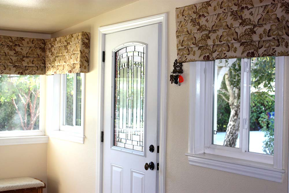 Custom Valances Over Living Room Windows
