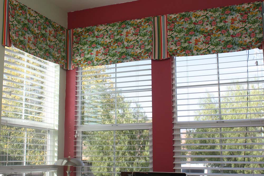 Tailored Valance with Contrasting Fabric